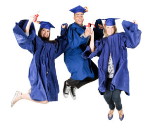 High school graduates jumping